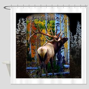 Trophy bull elk Shower Curtain