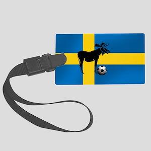 Sweden Soccer Elk Flag Large Luggage Tag