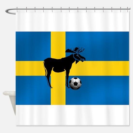 Sweden Soccer Elk Flag Shower Curtain