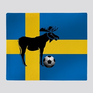 Sweden Soccer Elk Flag Throw Blanket