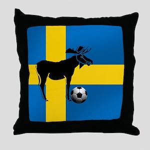 Sweden Soccer Elk Flag Throw Pillow
