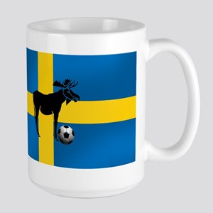 Sweden Soccer Elk Flag Large Mug