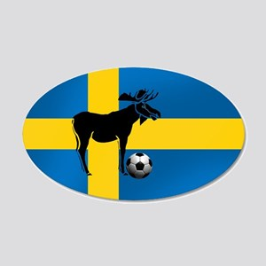 Sweden Soccer Elk Flag 20x12 Oval Wall Decal