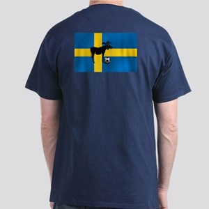 Sweden Soccer Elk Flag Dark T-Shirt
