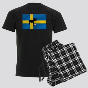 Sweden Soccer Elk Flag Men's Dark Pajamas