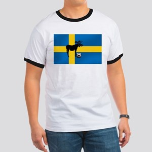 Sweden Soccer Elk Flag Ringer T