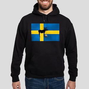 Sweden Soccer Elk Flag Hoodie (dark)