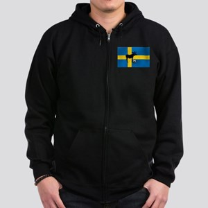 Sweden Soccer Elk Flag Zip Hoodie (dark)
