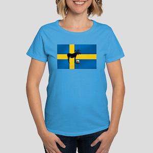 Sweden Soccer Elk Flag Women's Dark T-Shirt