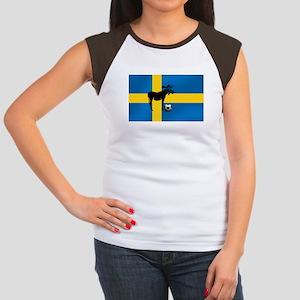 Sweden Soccer Elk Flag Women's Cap Sleeve T-Shirt
