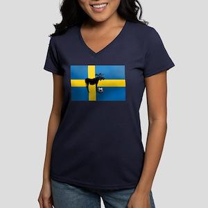 Sweden Soccer Elk Flag Women's V-Neck Dark T-Shirt
