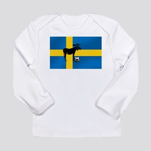 Sweden Soccer Elk Flag Long Sleeve Infant T-Shirt