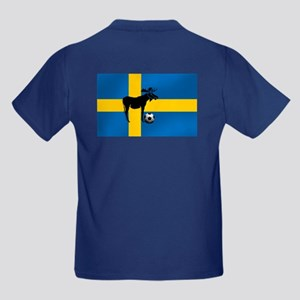 Sweden Soccer Elk Flag Kids Dark T-Shirt