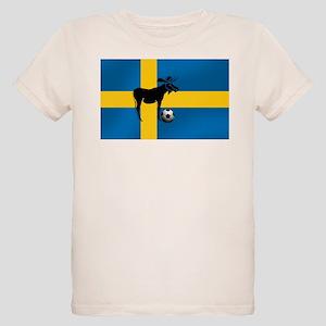 Sweden Soccer Elk Flag Organic Kids T-Shirt