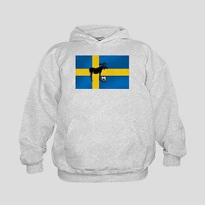 Sweden Soccer Elk Flag Kids Hoodie