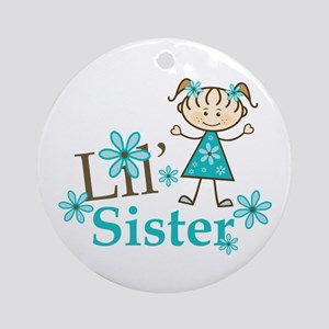 Little Sister Stick Figure Ornament (Round)