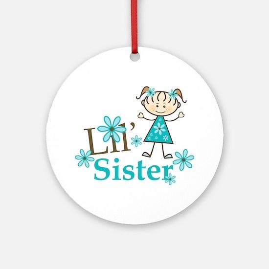 Little Sister Stick Figure Ornament (Round)