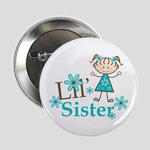 "Little Sister Stick Figure 2.25"" Button"