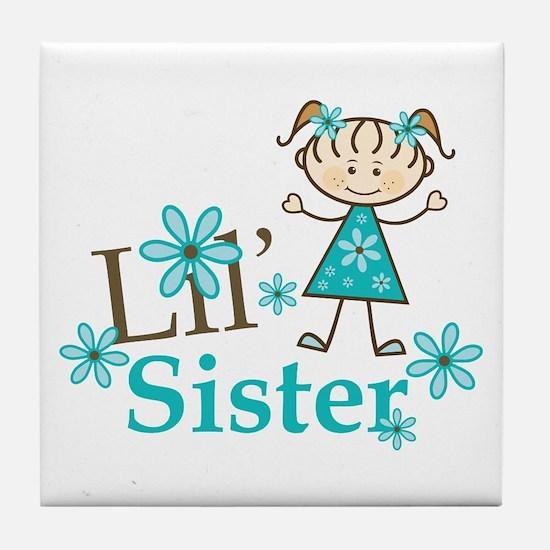Little Sister Stick Figure Tile Coaster