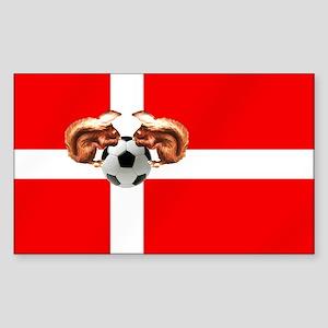 Danish Football Flag Sticker (Rectangle)