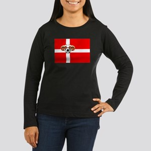 Danish Football Flag Women's Long Sleeve Dark T-Sh