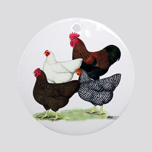 Plymouth Rock Chickens Ornament (Round)