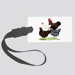 Plymouth Rock Chickens Large Luggage Tag