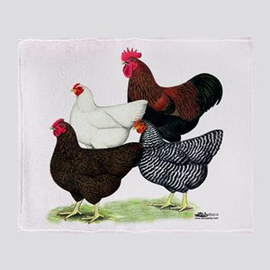 Plymouth Rock Chickens Throw Blanket