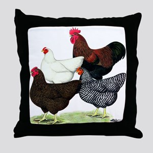Plymouth Rock Chickens Throw Pillow