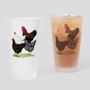 Plymouth Rock Chickens Drinking Glass