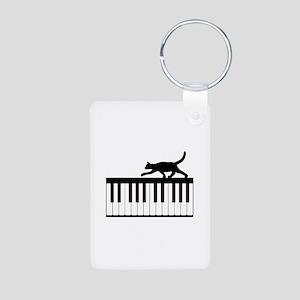 Cat and Piano v.1 Aluminum Photo Keychain