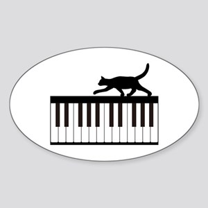 Cat and Piano v.1 Sticker (Oval)