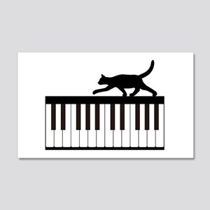 Cat and Piano v.1 20x12 Wall Decal