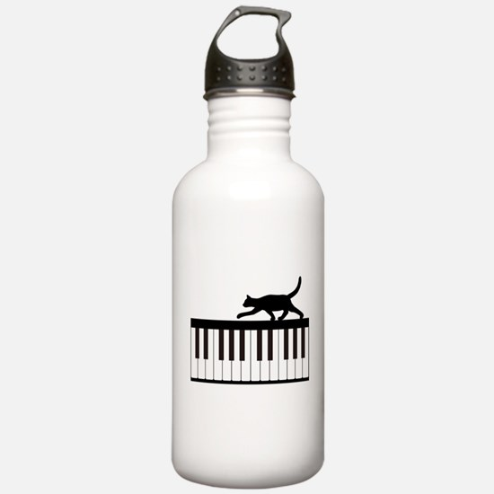 Cat and Piano v.1 Water Bottle