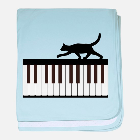 Cat and Piano v.1 baby blanket