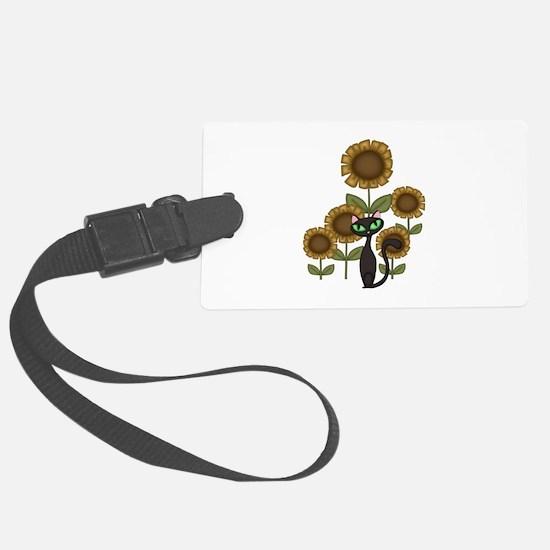 Sunflower Black Cat Luggage Tag