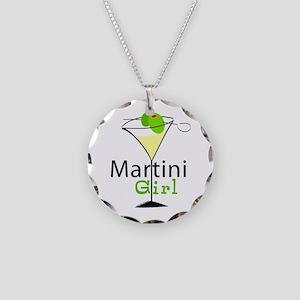 Martini Girl Necklace Circle Charm