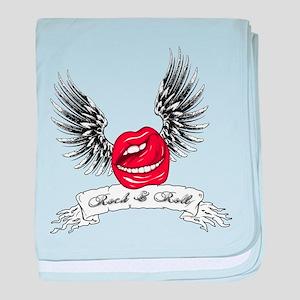 Rock N Roll Winged Lips baby blanket