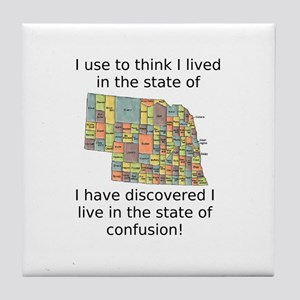 Nebraska:State Of Confusion Tile Coaster