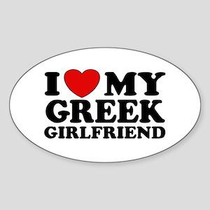I love My Greek Girlfriend Oval Sticker
