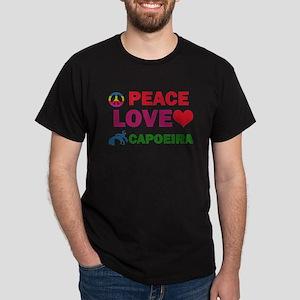 Peace Love Capoeira Designs Dark T-Shirt
