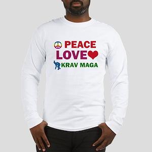Peace Love Krav maga Designs Long Sleeve T-Shirt