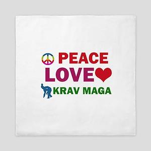 Peace Love Krav maga Designs Queen Duvet