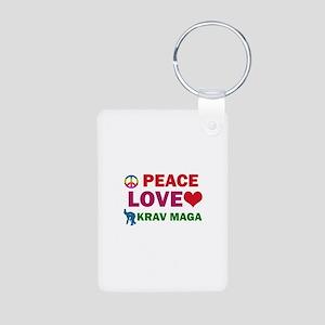 Peace Love Krav maga Designs Aluminum Photo Keycha