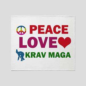 Peace Love Krav maga Designs Throw Blanket