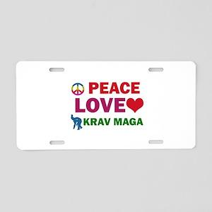 Peace Love Krav maga Designs Aluminum License Plat