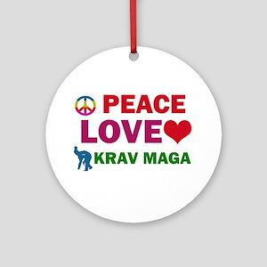 Peace Love Krav maga Designs Ornament (Round)