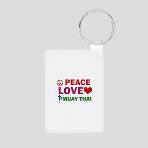 Peace Love Muay Thai Designs Aluminum Photo Keycha