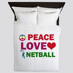 Peace Love Netball Designs Queen Duvet