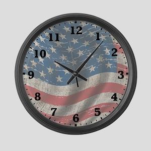 Vintage Flag Of America Large Wall Clock